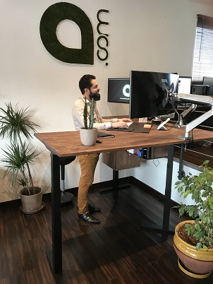 bureau debout avec retour Happy Desk agence point com